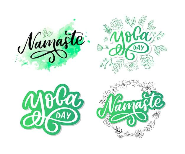 Namastê desenhado de mão. letras de mão desenhada. letras de ioga.