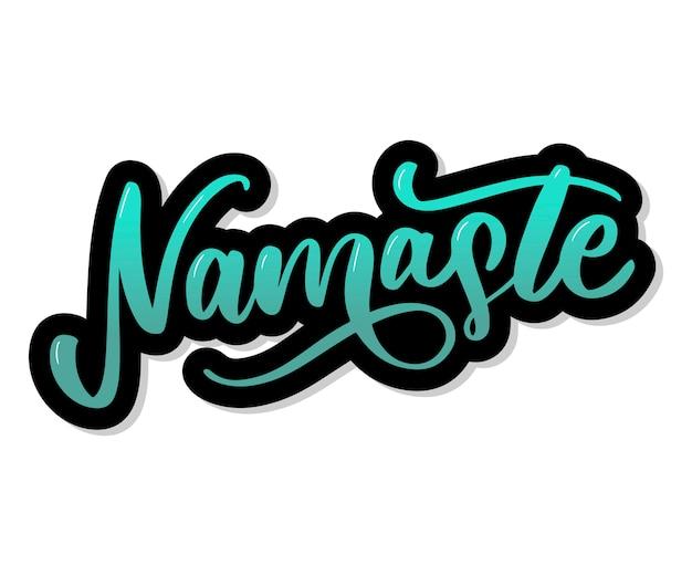 Namaste letras saudação indiana, olá em hindi camiseta mão com letras desenho caligráfico.