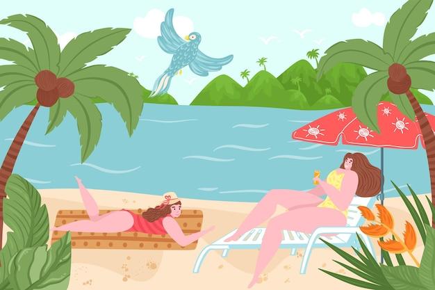 Namorada de personagem de mulher juntos relaxar praia quente de país tropical, ilustração em vetor plana adorável romântico lugar ao ar livre, atividade de lazer. as pessoas tomam banho de sol na costa de areia do oceano, férias de férias.
