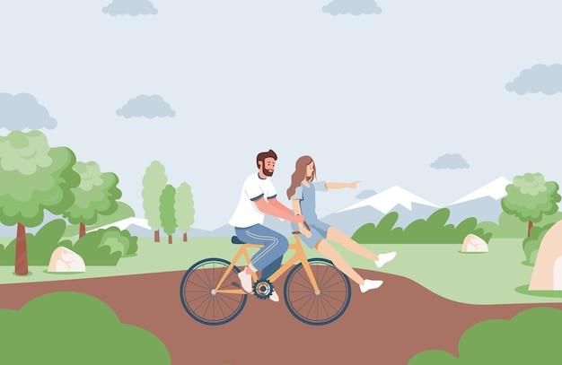Namorada e namorado passando um tempo juntos no parque