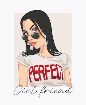 Namorada perfeita com garota na ilustração de óculos de sol