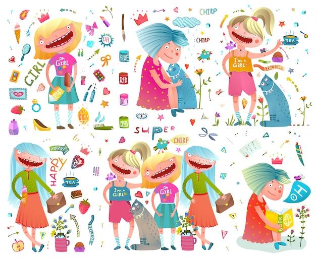 Namoradas cute girlish cartoon coleção colorida