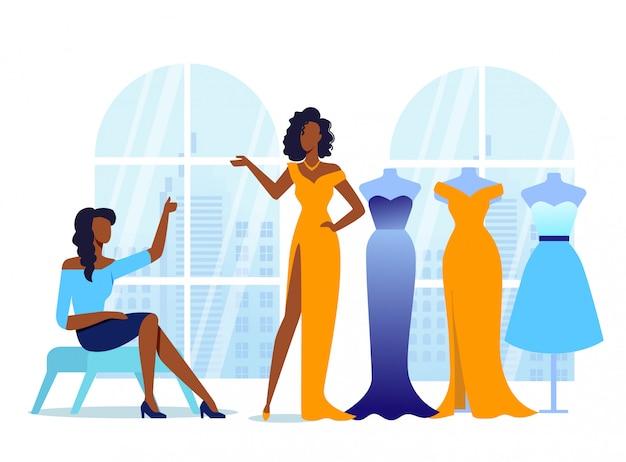 Namoradas experimentam na ilustração de roupas