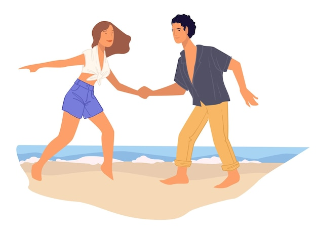 Namorado e namorada dançando na praia