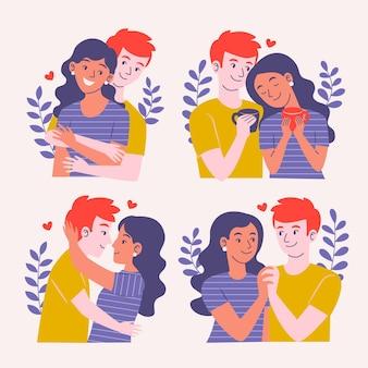 Namorado e namorada ilustrados