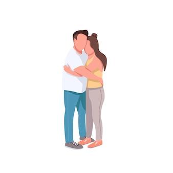 Namorado e namorada personagens sem rosto de cor lisa