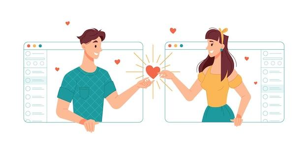 Namorado e namorada se comunicando on-line com a ajuda de aplicativos de videochamada e internet
