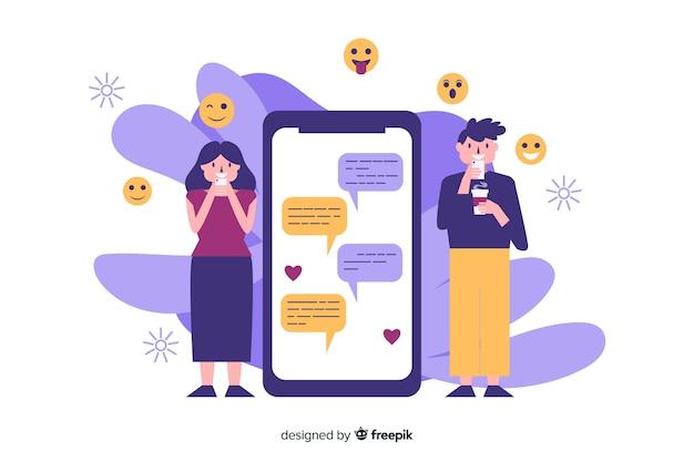 Namoro app conceito com ilustrações