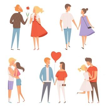 Namoro casais, felicidade dia 14 de fevereiro dia dos namorados abraçando amantes românticos personagens data conceito
