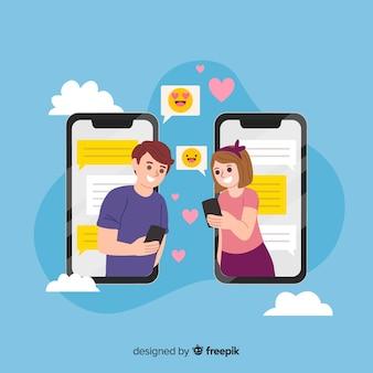Namoro conceito de aplicativo para mídias sociais