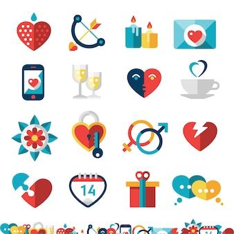 Namoro conjunto de ícones