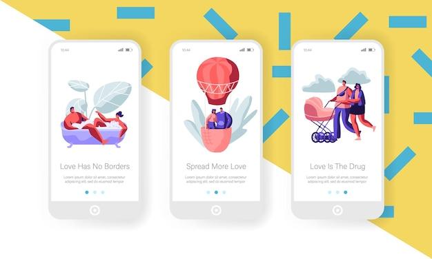 Namoro e conceito de família. conjunto de tela integrada da página do aplicativo móvel