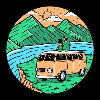 Namoro nas montanhas de carro