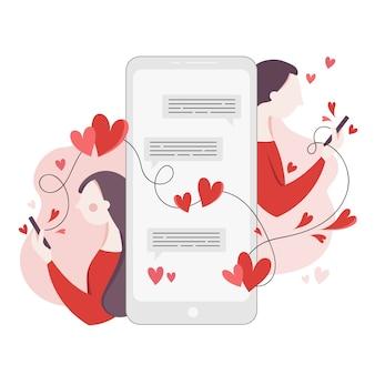 Namoro o conceito de aplicativo com mensagens de texto de menina e menino