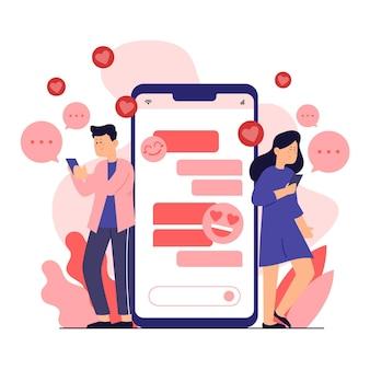 Namoro o conceito de app com homem e mulher