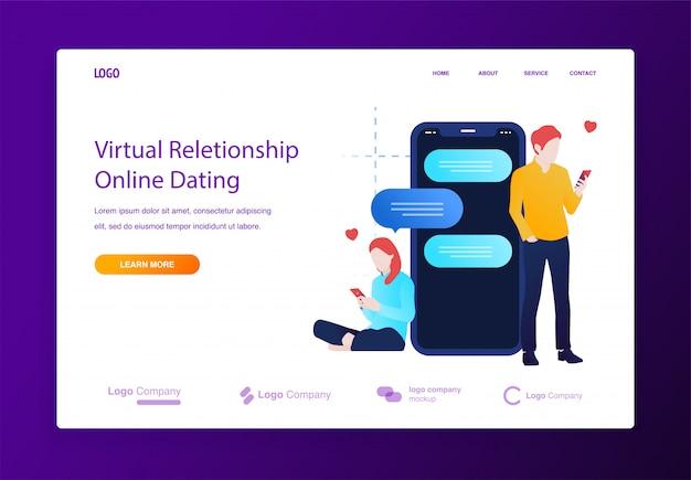 Namoro on-line e conversando sobre um conceito de ilustração móvel para site ou página de destino