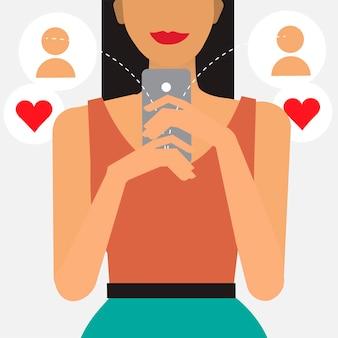 Namoro on-line e ilustração de mensagens