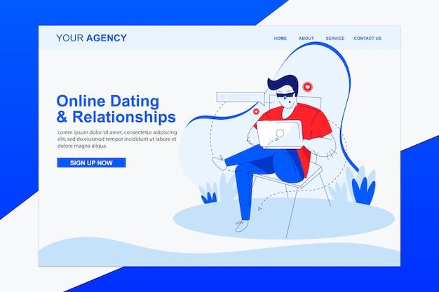 Namoro on-line e relacionamentos página de destino com ilustração plana moderna