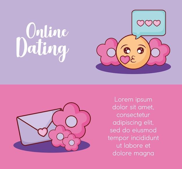Namoro on-line infográfico com beijo emoji