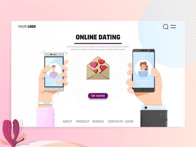 Namoro on-line - modelo de página de destino. web site mão segurando o conceito de design plano de smartphone