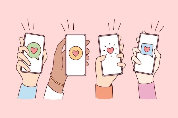 Namoro online, amor e conceito móvel. ilustração em vetor mãos de pessoas segurando smartphones com corações e conversas de comunicação em telas