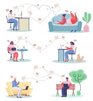 Namoro online conceito ilustração plana conjunto de vetores