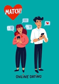 Namoro online - jovem e mulher em busca de amor com um aplicativo para celular
