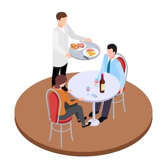 Namoro romântico em ilustração vetorial isométrica de restaurante