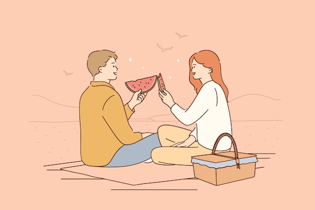 Namoro romântico, piquenique, conceito de verão
