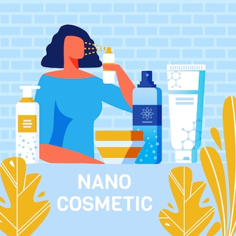 Nano cosmetics para o cartaz da propaganda do cuidado do corpo