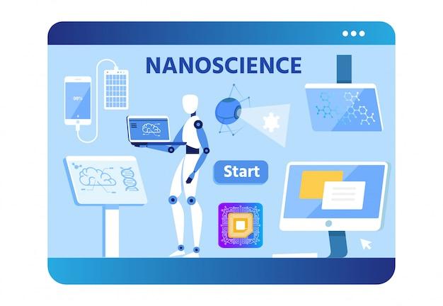Nano science banner com cientista robô plano Vetor Premium
