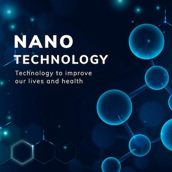 Nanotecnologia modelo de estrutura molecular vetor ciência médica história de mídia social