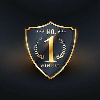 Não. 1 emblema vencedor etiqueta design dourado