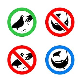 Não alimente pássaros e sinais de proibição de pesca