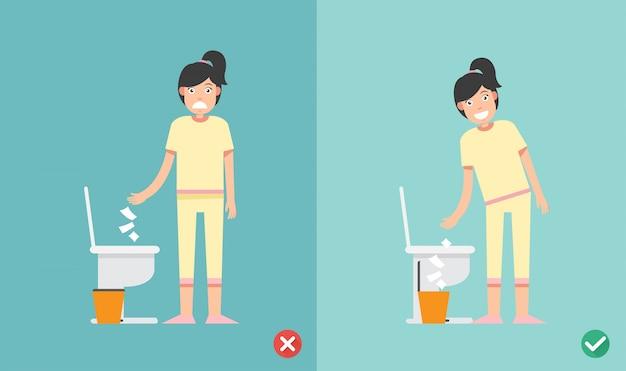 Não coloque lenço de papel no vaso sanitário
