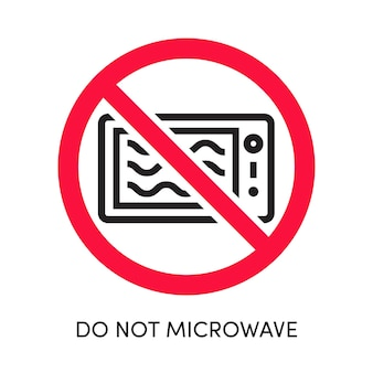 Não coloque no micro-ondas o ícone do forno vetorial cruzado com o círculo vermelho eps