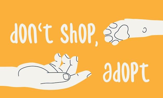 Não compre adote mão humana estende a mão para a pata de cachorro ilustração chamando para adoção de animais