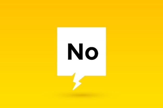 Não., conceito de bolha do discurso, cartaz e adesivo
