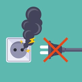 Não conecte aparelhos elétricos a uma tomada quebrada