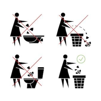 Não dê descarga absorvente no banheiro. mulher dando descarga absorvente ícone proibido