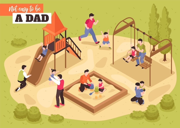 Não é fácil ser pai ilustração isométrica com pais brincando com seus filhos no parquinho