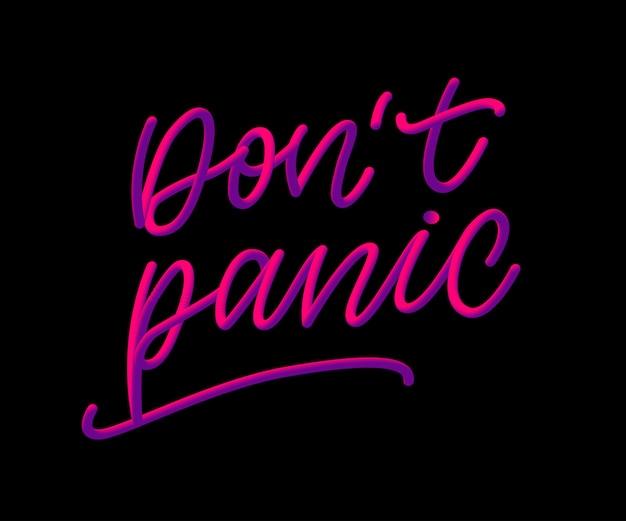 Não entre em pânico. saúde mental. tipografia de letra mão à mão