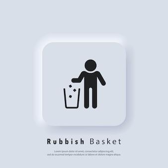 Não faça sinal de lixo. ícone de lata de lixo. cesta de lixo. vetor eps 10. ícone de interface do usuário. botão da web da interface de usuário branco neumorphic ui ux. neumorfismo