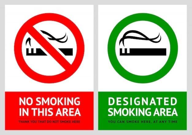 Não fumar e etiquetas para área de fumantes - conjunto 2