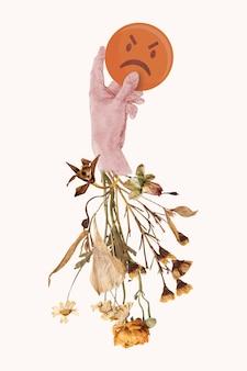 Não gosto de reação em mídia social ilustração de flor de mídia mista