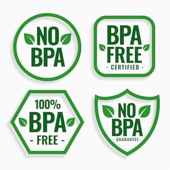 Não há bpa bisfenol-a e ftalatos conjunto de rótulos