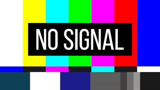 Não há sinal de teste de tv erro de tela na televisão smpte