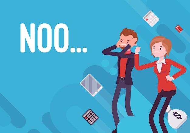 Não. ilustração de desmotivação de negócios