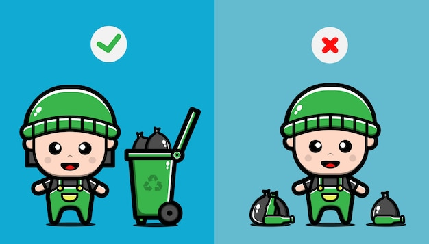 Não jogue pontas de lixo no chão, certo e errado.
