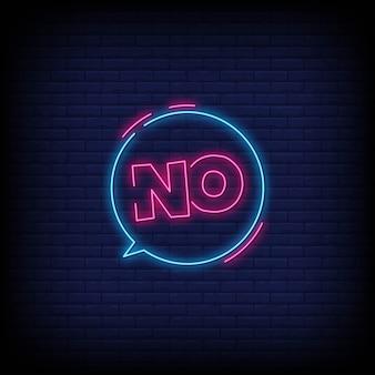 Não para cartaz em estilo neon